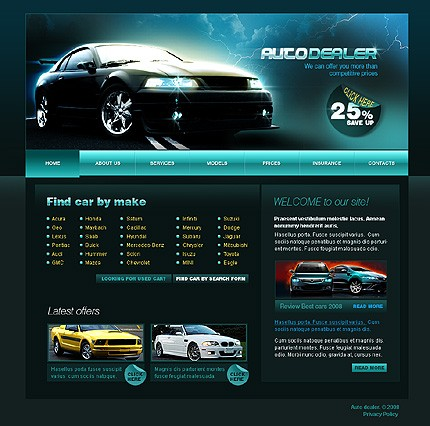 Auto Repair Website Template on Auto Dealer Website Template