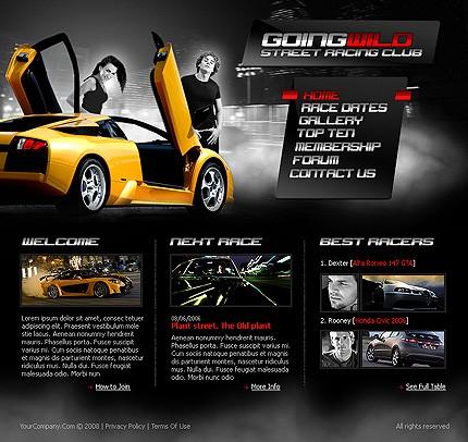 Auto Racing  Site on Street Racing Website Template